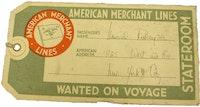 American Merchant Lines Ticket.
