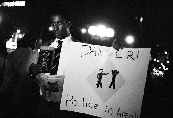 Man at NYC to Ferguson Solidarity Vigil. Union Square, 2014.