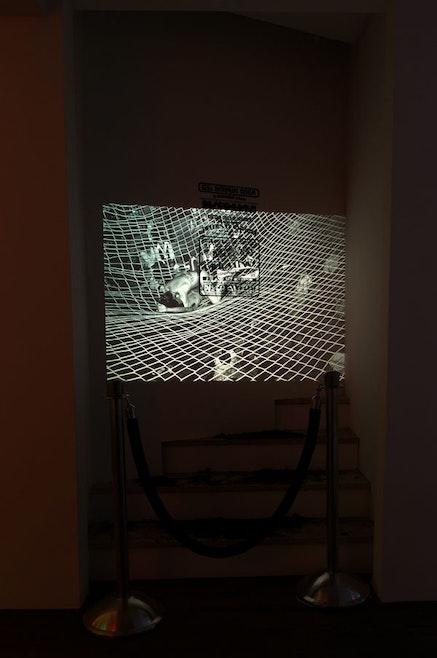 Hilton Als, <em>Dirt Nap/Disco Nap</em>, 2016. Slide projector, black velvet rope with stanchions, GG&#146;s Barnum Room poster; projected slide: Bill Bernstein, <em>Disco Bats on Net</em>, 1979. Courtesy the artists. Photo: Hector Rene.