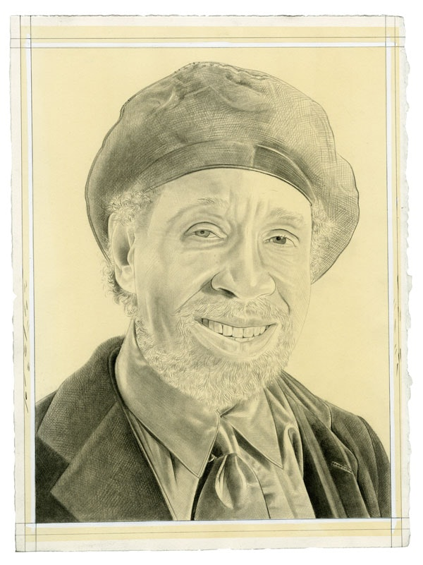 Portrait of Barkley Hendricks. Pencil on paper by Phong Bui. Reference photo courtesy Jack Shainman Gallery.