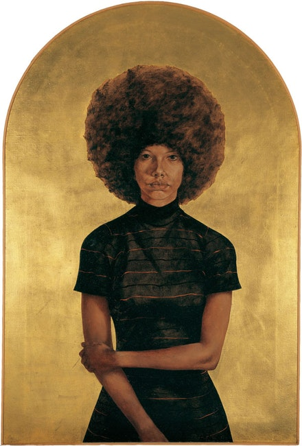 Barkley L. Hendricks, <em>Lawdy Mama</em>, 1969. Oil and gold leaf on canvas. 53 x 36  inches. (c) Barkley L. Hendricks. Courtesy the artist and Jack Shainman Gallery.