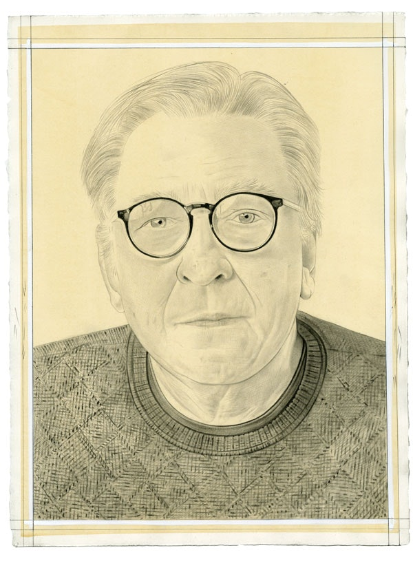Portrait of Bill Conlon. Pencil on paper by Phong Bui. From a photo by Zack Garlitos.