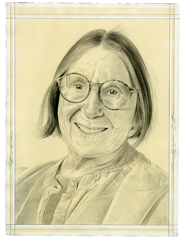 Portrait of Betty Woodman. Pencil on paper by Phong Bui. From a photo by Taylor Dafoe.