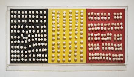 Installation View: <em>Marcel Broodthaers: A Retrospective</em>. The Museum of Modern Art, New York, February 14 – May 15, 2016. © 2016 The Museum of Modern Art. Photo: Martin Seck. Courtesy the Museum of Modern Art, New York.