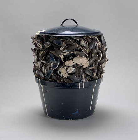 Marcel Broodthaers, <em>Moules sauce blanche (Mussels with white sauce)</em>, 1967. Painted pot, mussel shells, paint, and tinted resin, 14 3/4 inches diam.; 19 1/8 inches high. Private collection, New York. © 2016 Estate of Marcel Broodthaers / Artists Rights Society (ARS), New York / SABAM, Brussels. Courtesy the Museum of Modern Art, New York.