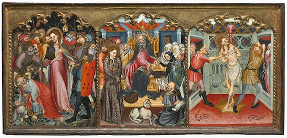 Nicolás Solana, <em>The Arrest of Christ, Christ before Pilate and The Flagellation</em> (c. 1420 – 1430). Oil on softwood panel with original applied and gilded frame. 31 1/2 × 68 1/3 inches. including frame.