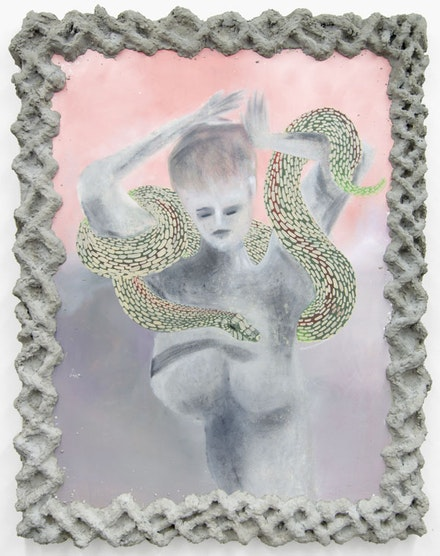 Chelsea Culprit, <em>Midnight</em> (2014 – 16). Oil on canvas with cement frame. 64 × 50 inches. Courtesy Queer Thoughts.