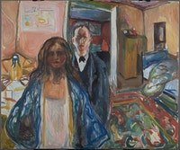 Edvard Munch, <em>The Artist and His Model</em> (1919–21). Oil on canvas. © The Munch Museum Oslo / 2016 Artists Rights Society (ARS), New York.