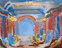 Karen Kilimnik, <em>Neptune's grotto theater</em>, 2015. Water soluble oil color on canvas. 14 1/8 × 10 3/4 inches. Courtesy 303 Gallery.