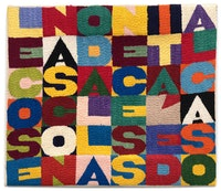 Alighiero Boetti, <em>Le cose nascono dalla necessita e dal caso</em>, 1988. Embroidery on fabric. 11.8 × 13.7 inches.