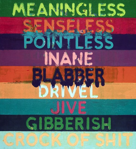 Mel Bochner, <em>Meaningless</em>, 2015. Oil on velvet. 51 × 46 inches.
