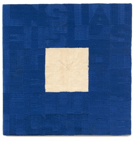 Alighiero e Boetti, <em>Le infinite possibilità di esistere</em>, c. 1990. Embroidery on fabric. 14 × 14 inches.