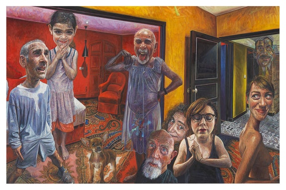 Mark Greenwold, <em>Human Kindness</em>, 2015 - 2016. Oil on canvas mounted to board. 22 1/2 x 34 1/2 inches. Courtesy Garth Greenan Gallery.