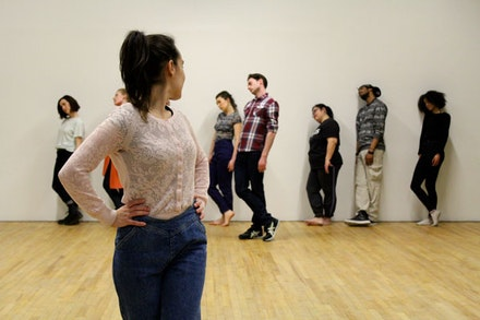 Katiana Rangel and ensemble rehearsing for <em>Tragedy in Spades</em>. Photo by Katherine Brook.