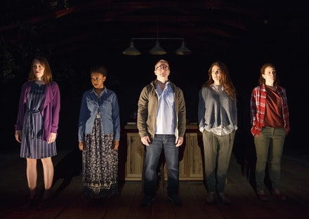 (From left): Crystal Finn, April Matthis, Nat DeWolf, Annie Parisse & Maria Striar in <em>Antlia Pneumatica</em> at Playwrights Horizons.