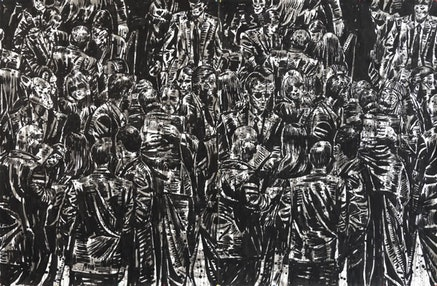 Nicky Nodjoumi, <em>Engaged Crowd</em>, 2015. Ink and wash on paper. 79 x 120 inches. Courtesy the artist and Taymour Grahne Gallery, New York.
