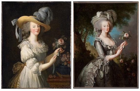 <em>Marie Antoinette in a Chemise Dress</em>, 1783; <em>Marie Antoinette with a Rose</em>, 1783