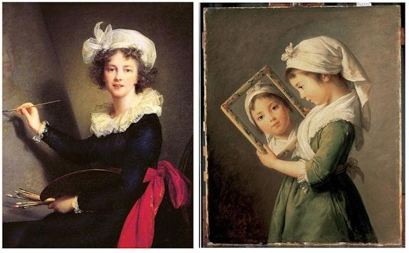 <em>Self-portrait</em>, 1790; <em>Julie Le Brun Looking in a Mirror</em>, 1786