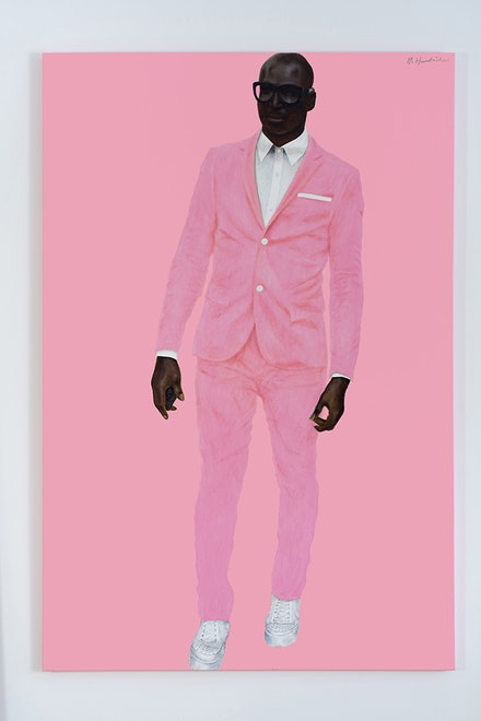 Barkley L. Hendricks, <em>Photo Bloke</em>, 2016. Oil and acrylic on linen. 72 x 48 inches. © Barkley L. Hendricks. Courtesy the artist and Jack Shainman Gallery.