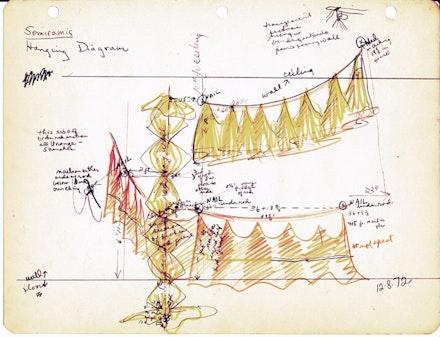 <em>Semiramis Hanging Diagram</em>, 1972, pen and pencil on paper.