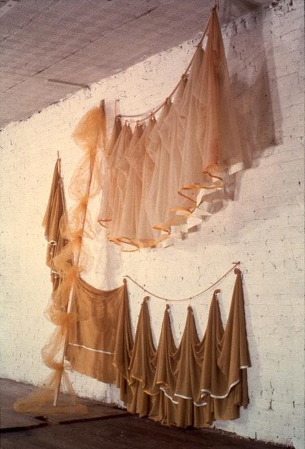 <em>Semiramis</em>, 1972. Nylons, wood, cord, paint, 120 x 180 inches.