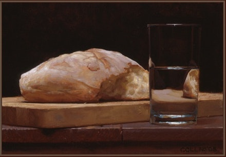 Jacob Collins, <i>Bread and Water</i>, 2003. Oil on canvas. 9 x 13 inches.