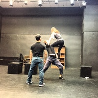 Fight choreographer David Anzuelo (left) working with NYU/LSTFI student actors Kenzie Caplan and Hudson Oznowicz on Charlotte Miller's Ugly Little Sister. Photo: Daniel Talbott.
