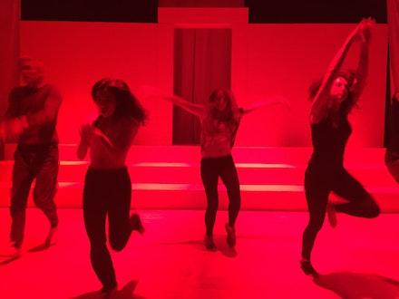 NYU/LSTFI student actors Hudson Oznowicz, Kenzie Caplan, Caitlin Hammond, and Katherine Nedder rehearsing Charlotte Miller's Ugly Little Sister. Photo: Daniel Talbott.