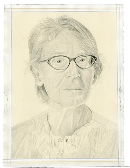 Portrait of Marcia Hafif. Pencil on paper by Phong Bui. From a photo by Taylor Dafoe.