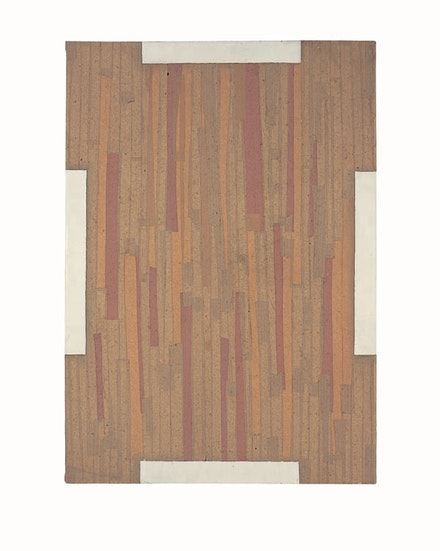 Marcia Hafif, <em>G., (Bread)</em>, 1962. Lacquer, tape and paper pasted on wood. 39 3/8 x 27 1/2  inches. © Marcia Hafif. Courtesy Fergus McCaffrey.