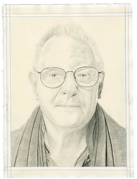 Portrait of Bill Jensen. Pencil on paper by Phong Bui. From a photo by Zack Garlitos.