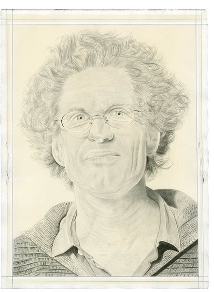 Portrait of David Hinton. Pencil on paper by Phong Bui. From a photo by Phil Dera.