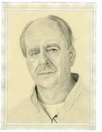 Portrait of William Kentridge. Pencil on paper by Phong Bui. From a photo by Marc Shoul.