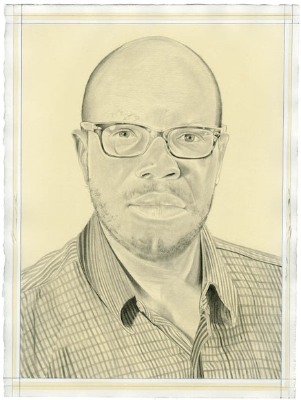 Portrait of Huey Copeland. Pencil on paper by Phong Bui. From a photo by Meta Rose Torchia.