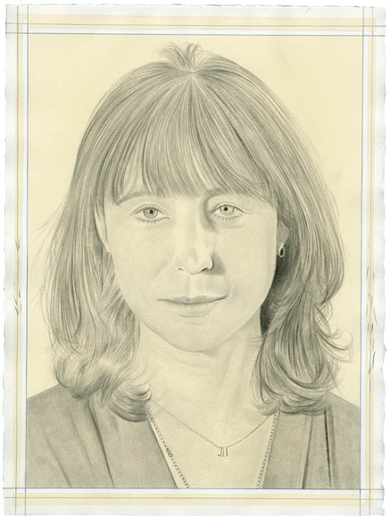 Portrait of Hannah Feldman. Pencil on paper by Phong Bui. From a photo by Meta Rose Torchia.