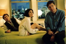Hal Hartley (right) directs Bill Sage (left) and Sabrina Lloyd (center) in <i>The Girl From Monday</i>.