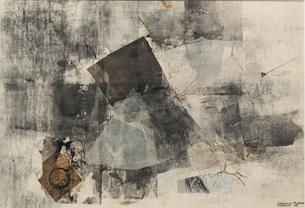 Nasreen Mohamedi, <em>Untitled</em>, 1969. Collage and watercolor on paper. 13 3/4 x 20 inches. Collection of Gayatri and Priyam Jhaveri.