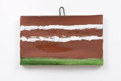 Raoul De Keyser, <em>Flooded in Brown</em>, 2012. Gesso and oil on canvas mounted on wooden panel. 5 1/8 x 8 1/2 inches. Courtesy David Zwirner Gallery, New York and London, and Zeno X Gallery, Antwerp.