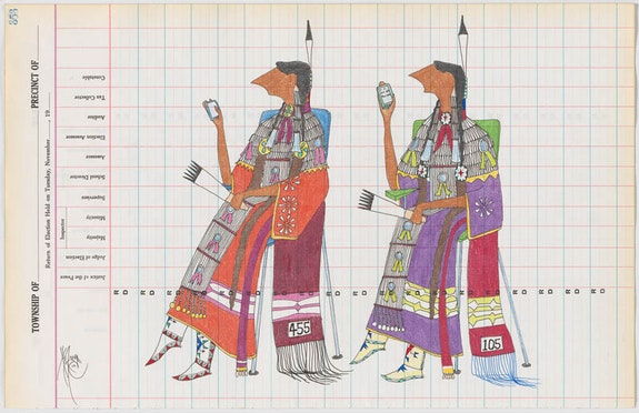 Dwayne Wilcox (Oglala Lakota, b. 1954), <em>4G Better than One-G</em>, 2012. Antique ledger paper, graphite, colored pencil, ink.