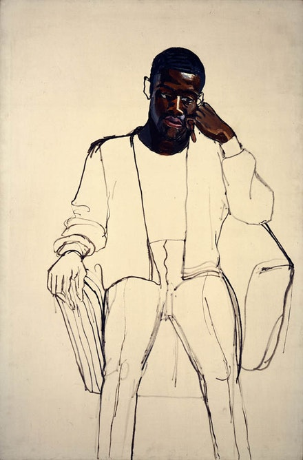 Alice Neel, <em>James Hunter Black Draftee</em>, 1965. Oil on canvas. 60 x 40 inches. COMMA Foundation, Belgium. © The Estate of Alice Neel. Courtesy The Metropolitan Museum of Art, New York.