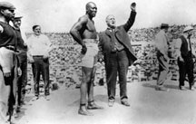World Heavyweights Champion Jack Johnson before his fight against Jim Jeffries, Reno, Nevada, July 4, 1910. Photo from Brown Brothers.