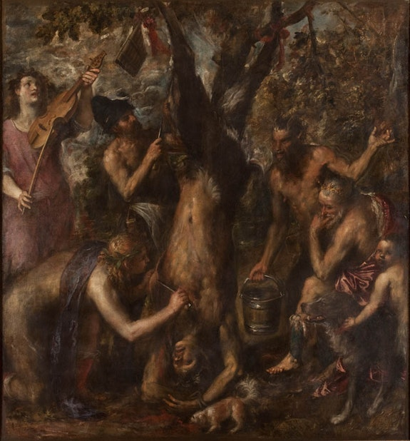 Titian (Tiziano Vecellio), <em>The Flaying of Marsyas</em>, probably 1570s. Oil on canvas. 86 /8 x 80 1/4 inches. Archdiocese Olomouc, Archiepiscopal Palace, Picture Gallery, Kromĕříž. Courtesy The Metropolitan Museum of Art, New York.