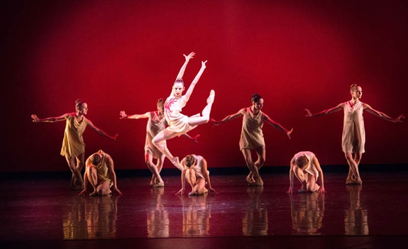 Nathalia Arja and Miami City Ballet dancers in <em>Symphonic Dances</em> by Alexei Ratmansky. Credit: Sasha Iziliaev.