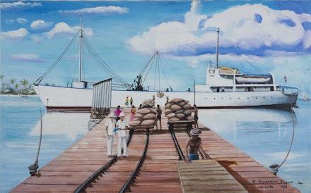Clement Siatous, <i>R barkossion de copra sur la mer dan Diego Garcia</i>, 2015. Acrylic on linen. 28.75 x 47 in. Courtesy Simon Preston Gallery.