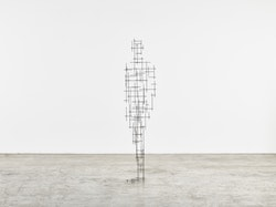 Antony Gormley, <i>Scaffold</i>, 2015. 4 mm square section stainless steel bar. 198 x 46 x 36 cm. © Antony Gormley. Photo: Stephen White, London. Courtesy Sean Kelly, New York.