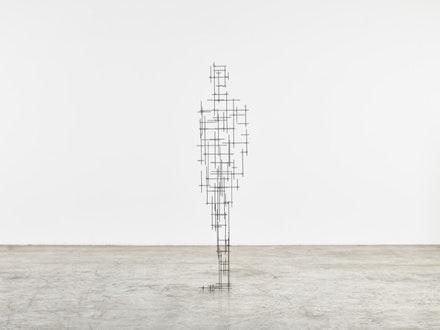 Antony Gormley, <i>Scaffold</i>, 2015. 4 mm square section stainless steel bar. 198 x 46 x 36 cm. © Antony Gormley. Photo: Stephen White, London. Courtesy Sean Kelly, New York.