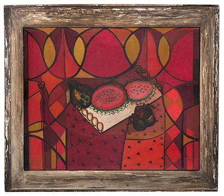 Amelia Pel&aacute;ez, <em>Bandeja con frutas (Sand&iacute;a) [Tray with Fruit (Watermelon)]</em>, 1941. Oil on canvas in original frame. 28 x 35 inches. Private Collection, Miami. Photo: Sid Hoeltzell. &copy; Amelia Pel&aacute;ez Foundation. Miami. Courtesy Tresart, Miami.