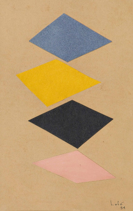 Lol&oacute; Soldevilla, <em>Sin titulo [Untitled]</em>, 1954. Collage on paper. 11 x 9 inches. Courtesy Latin Art Core Gallery, Miami.