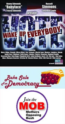 from top to bottom: ACT for Change's album cover, MoveOn's bake sale logo and Mother's Opposing Bush's logo (www.mob.org).