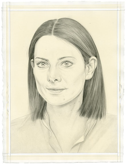 Portrait of Bettina Pousttchi. Pencil on paper by Phong Bui. From a photo by Norman Konrad.